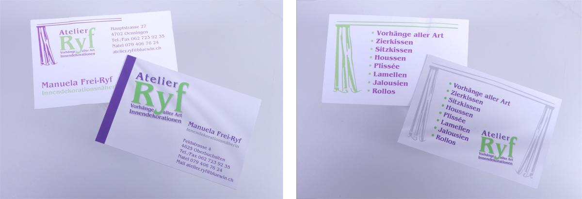 Atelier Ryf Visitenkarten - progra Ihre Druckerei in Oensingen