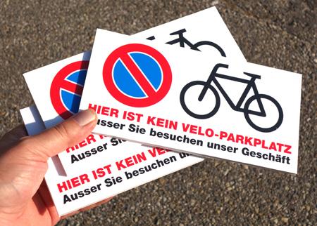 Kein Parkplatz Schild/Tafel von der Druckerei Progra Oensingen