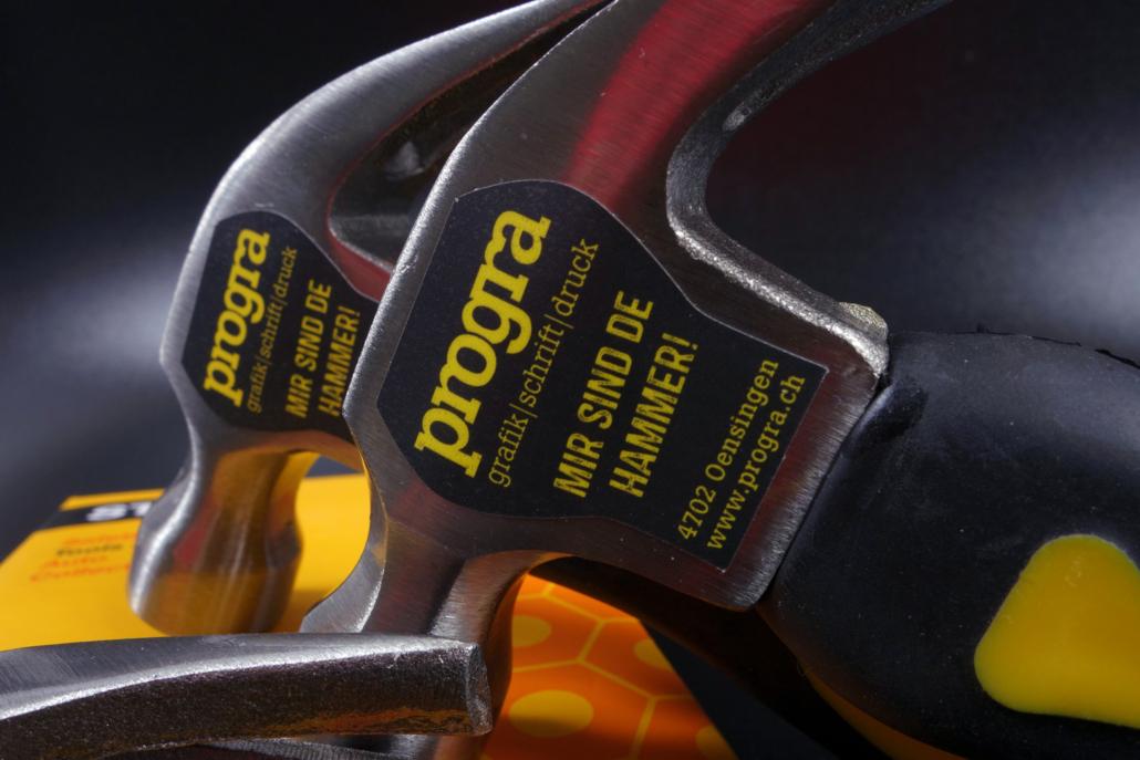 Hammer Werbeartikel mit Druck von progra