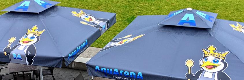 Sonnenschirm mit Druck - Druckerei für Sonnenschirme