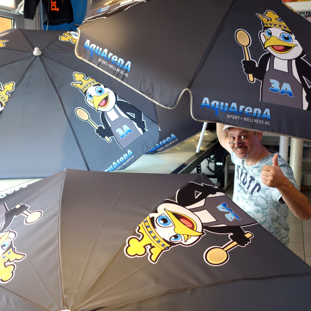 Werbesonnenschirm mit Druck