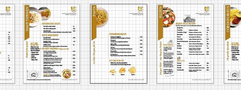Speisekarte Design Grafik Satz und Druck - progra Oensingen